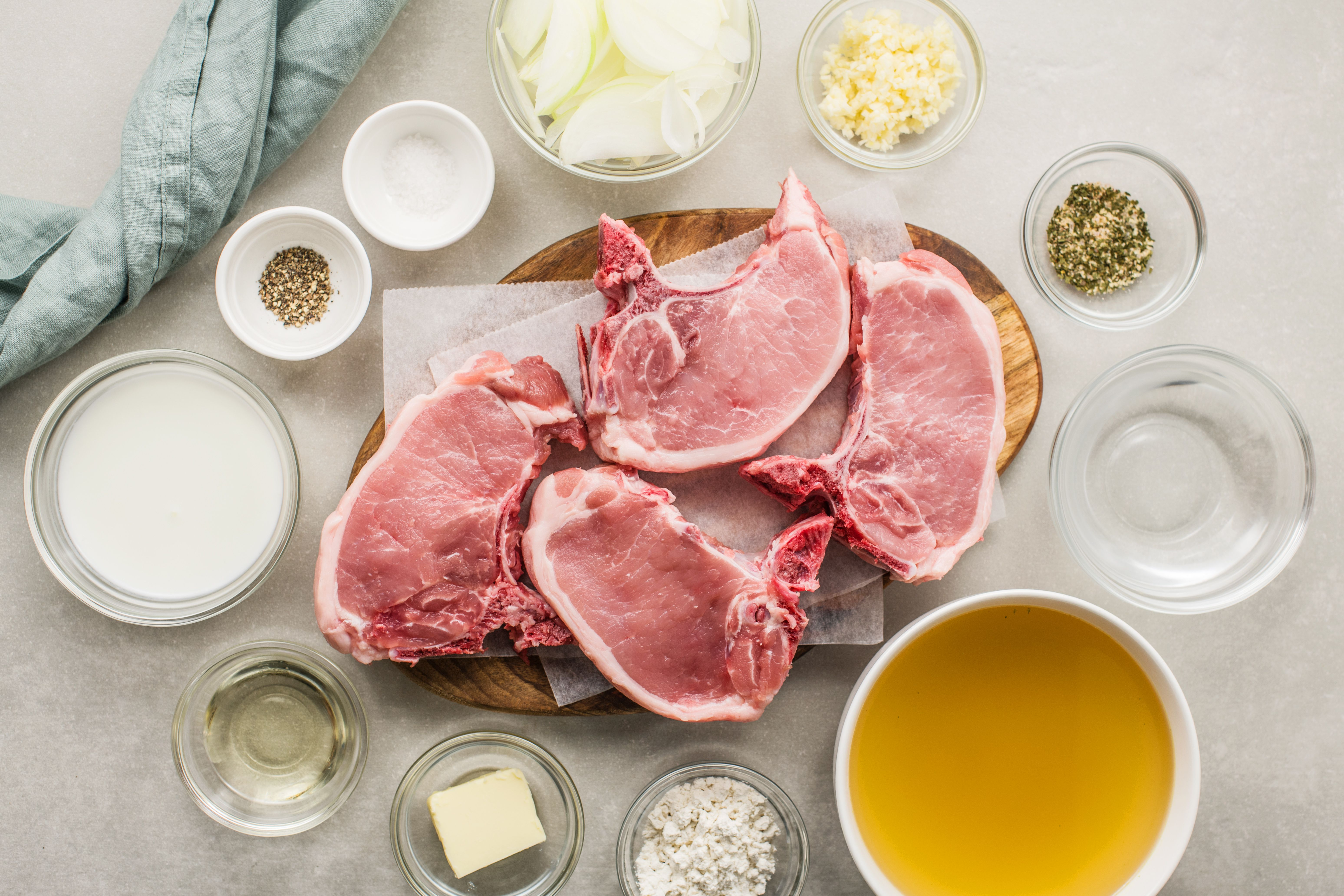 Ingredients for smothered pork chops