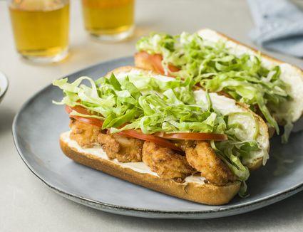 Fried shrimp po boy sandwiches