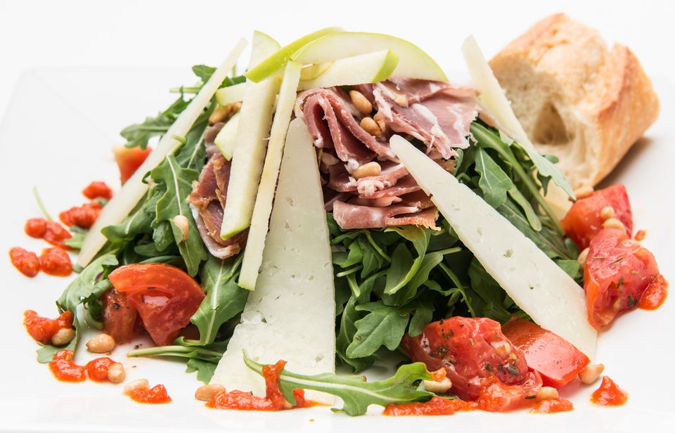 Aragula Salad with serrano ham, Pear and Manchego Cheese