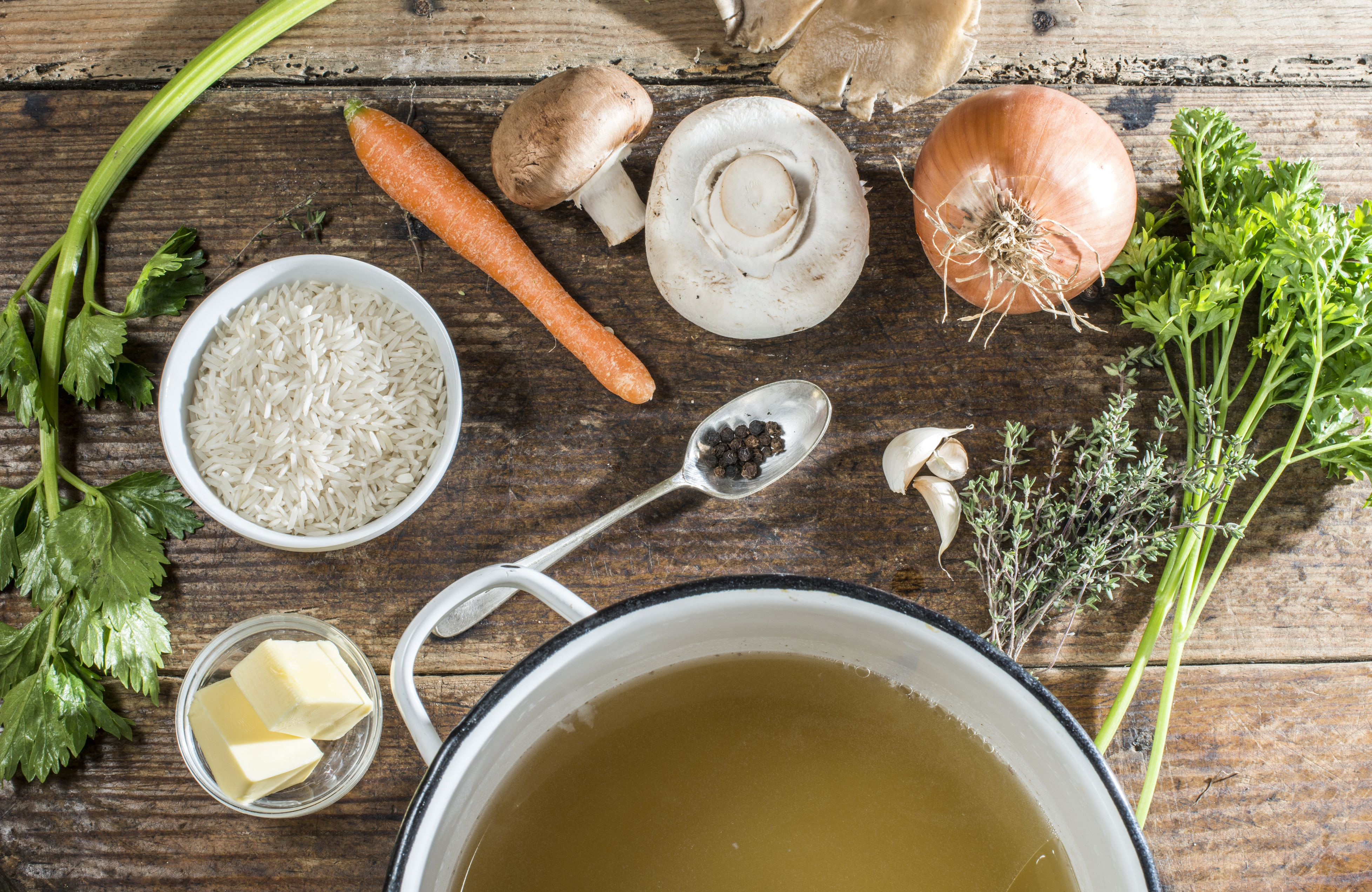 Ingredients for Bulgarian soup with rice, mushrooms and carrots