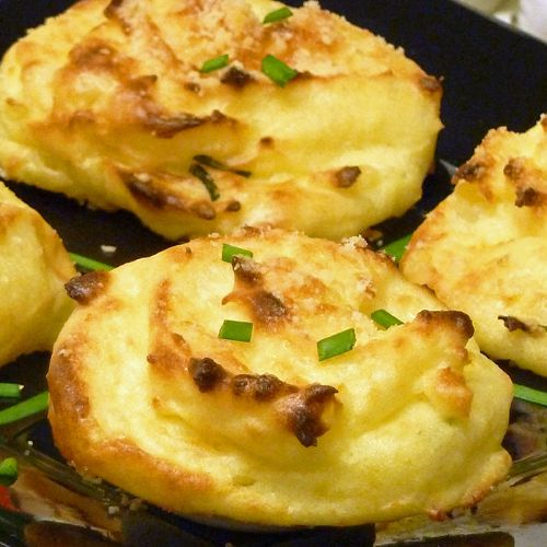 potato recipe, mashed potatoes, cheddar cheese, parmesan, onion, puffs, side dish, receipts