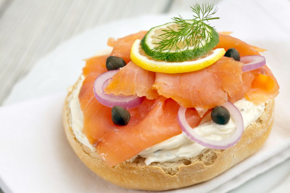 A bagel with lox and creme cheese