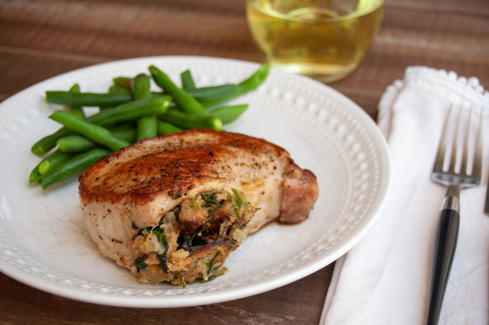 stuffed boneless pork chop with green beans
