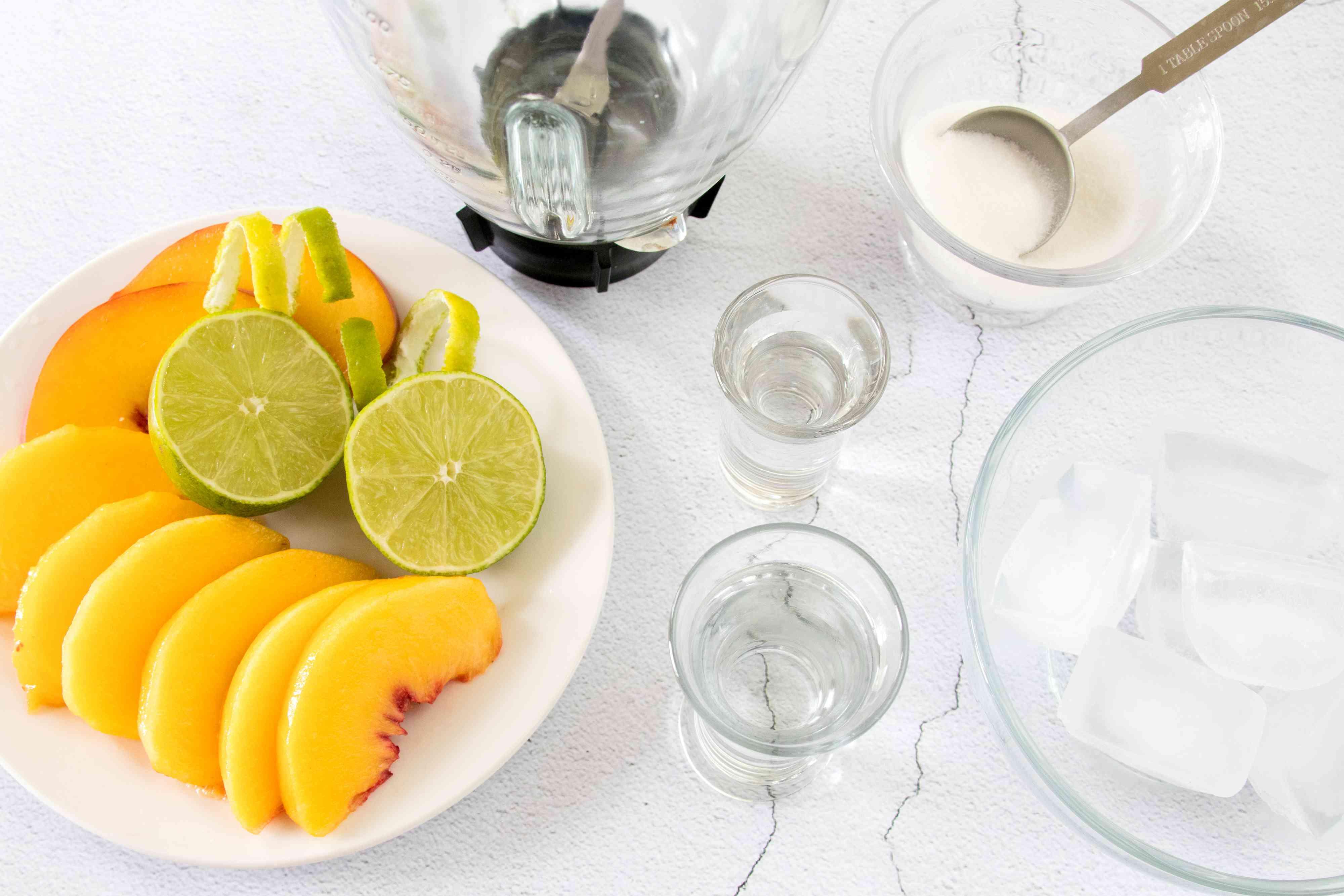 Ingredients for a Frozen Peach Margarita