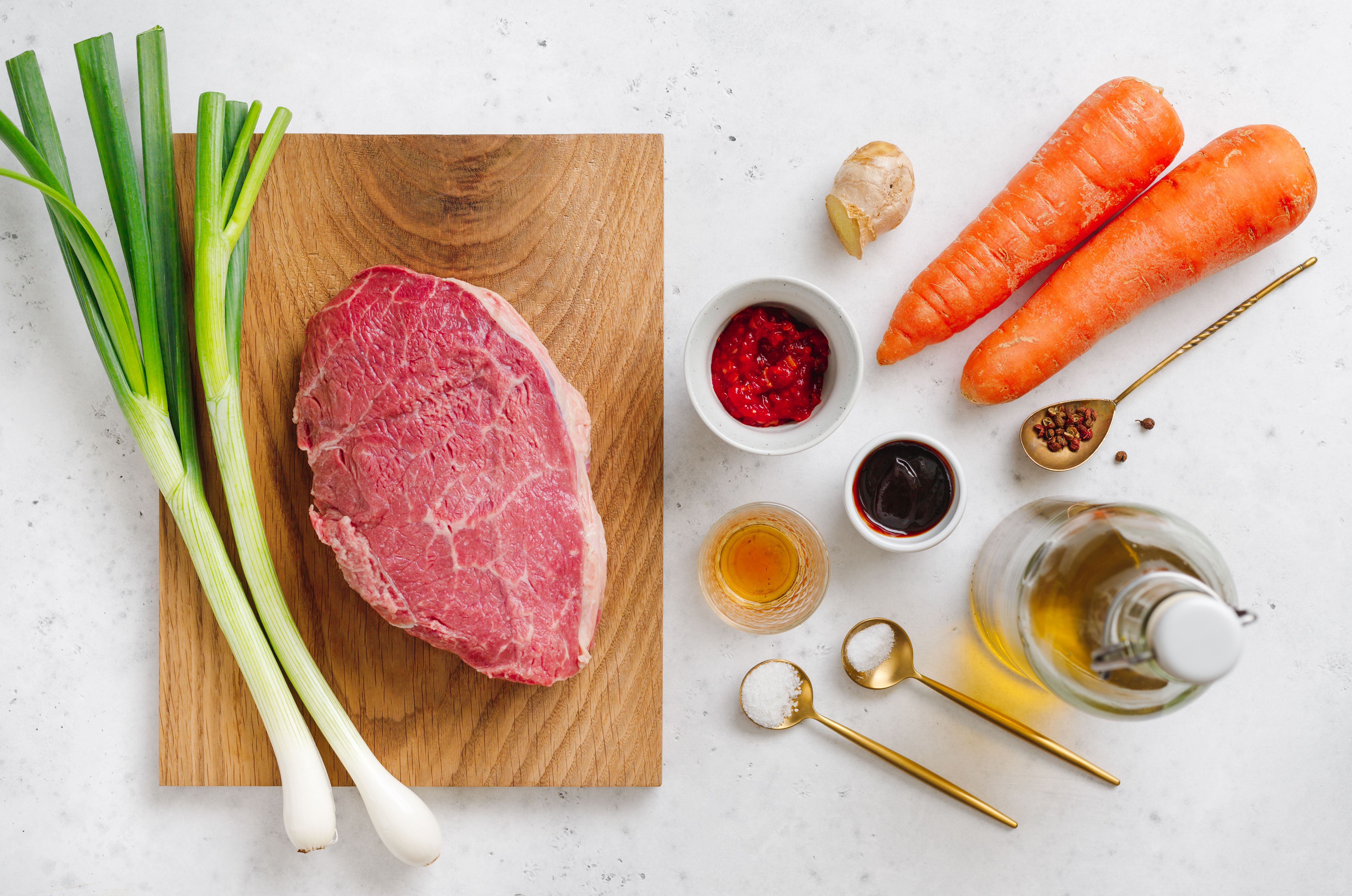 Ingredients for Chinese szechuan beef