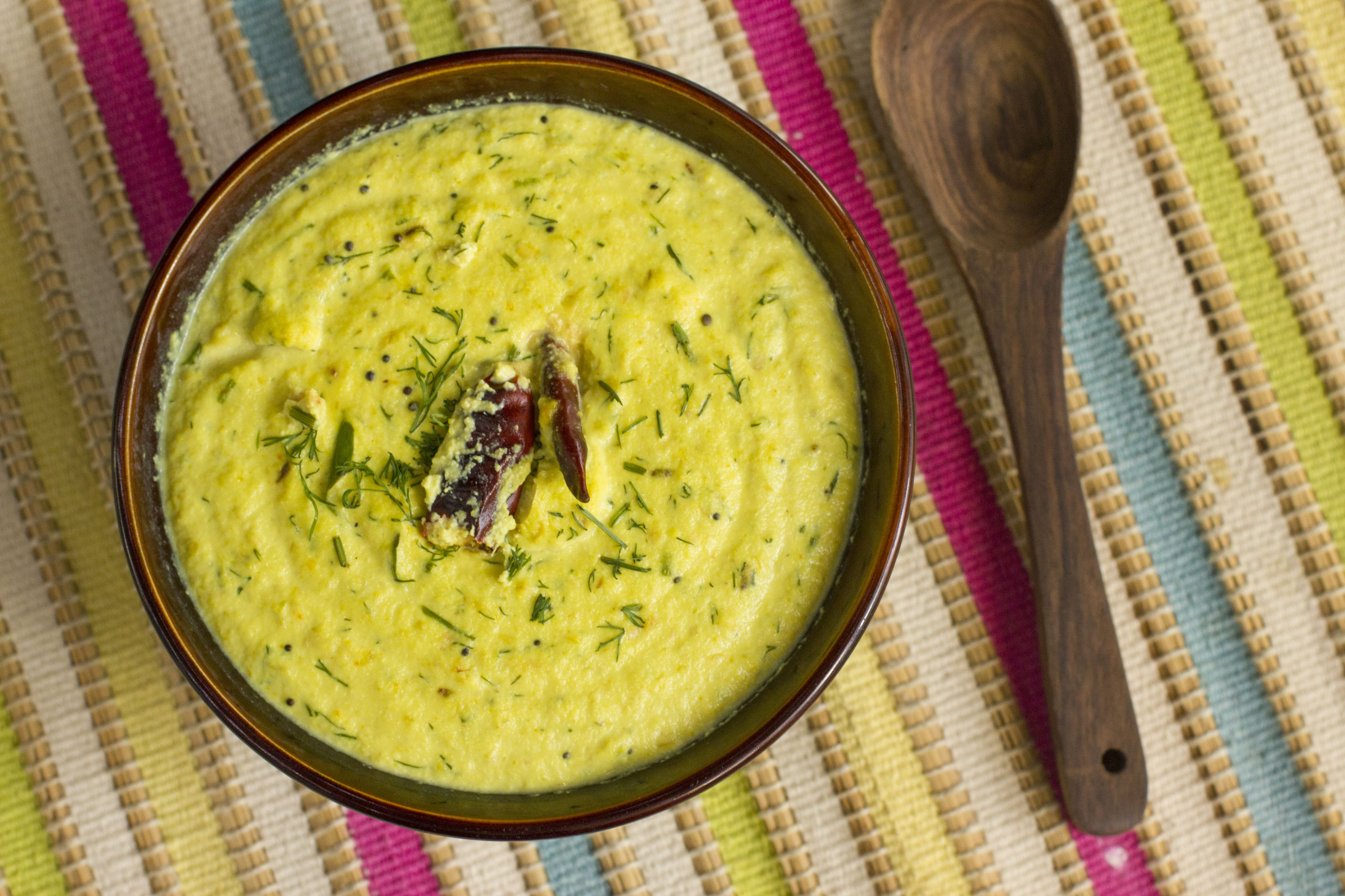 Dill and peanut kadhi is healthy version of North Indian kadhi.