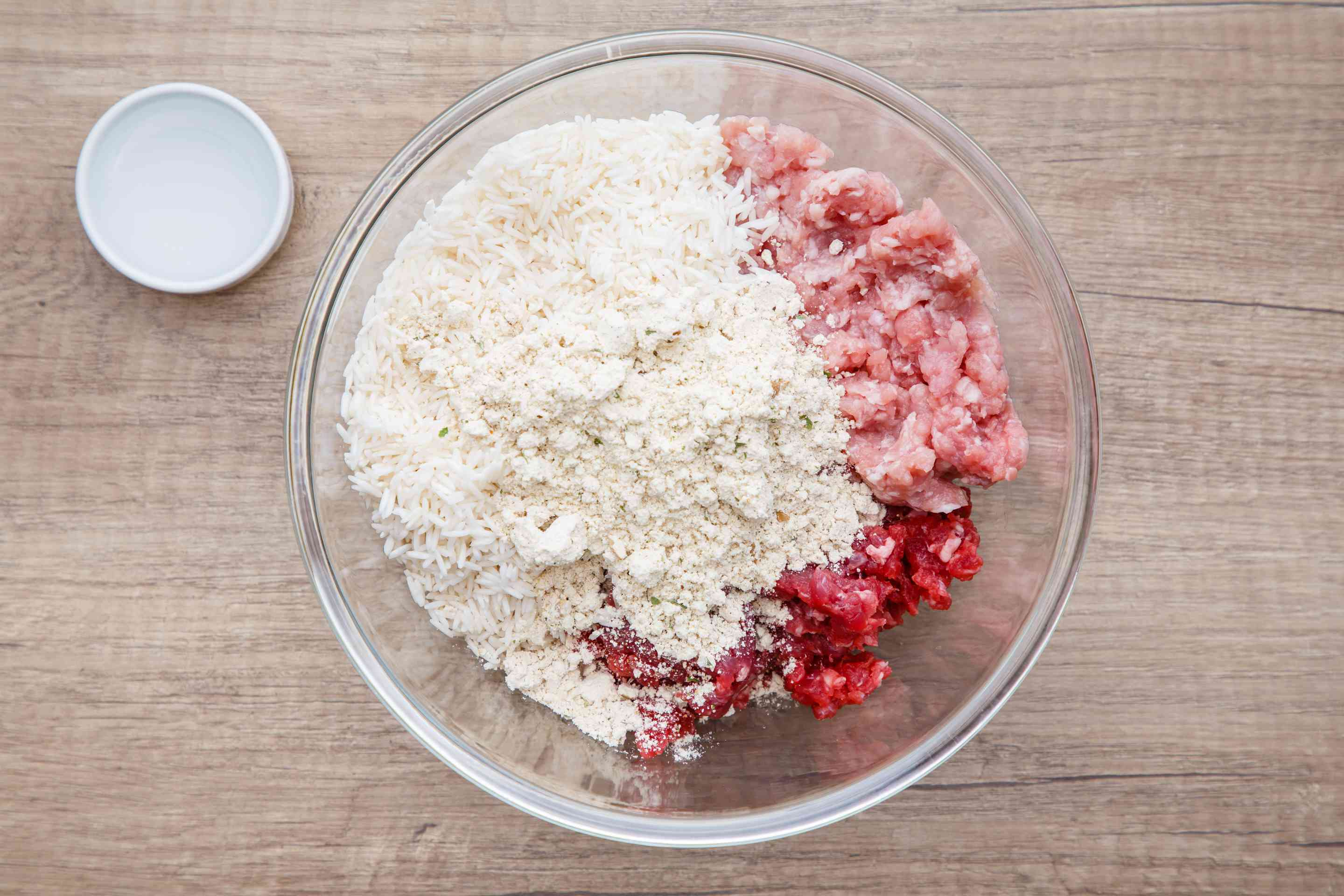 Ingredients for filling in a bowl