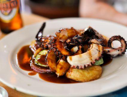 Braised Octopus on plate