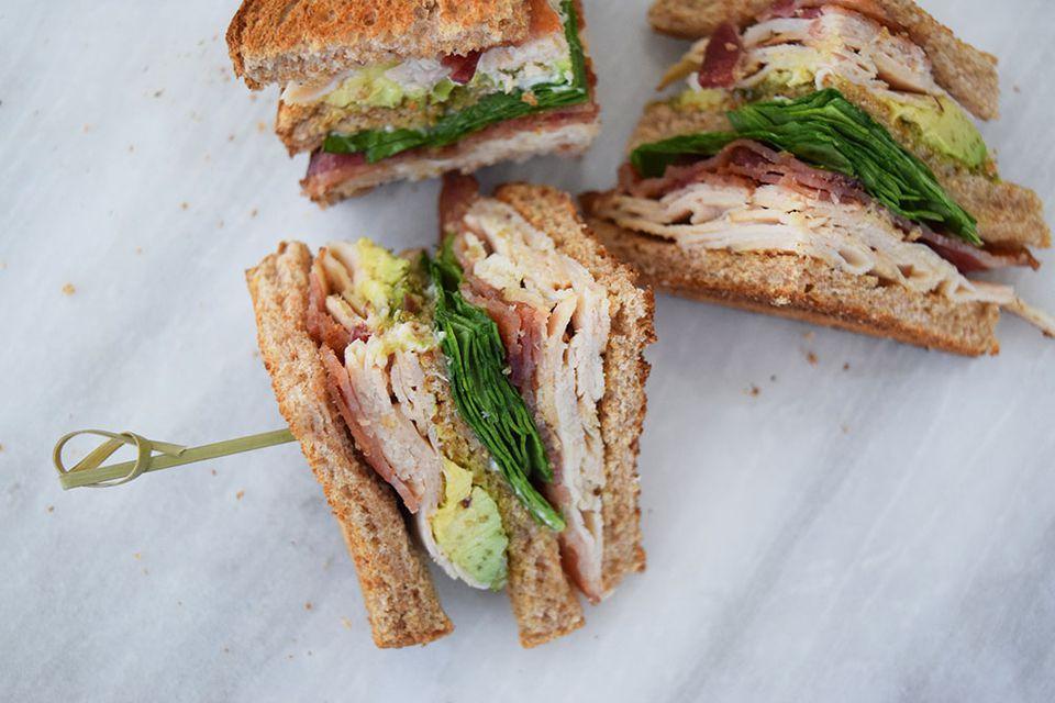 Turkey Bacon Avocado Club Sandwich