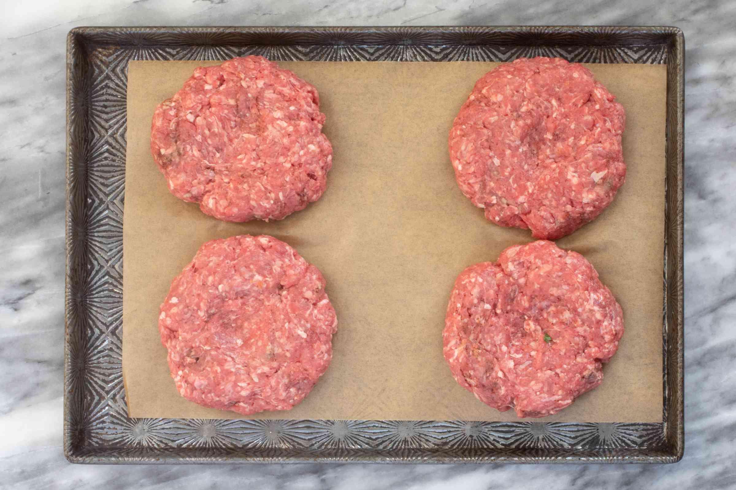 Shape the burgers.