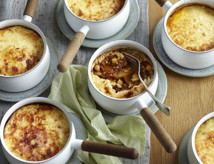 Potato lamb moussaka in individual saucepans