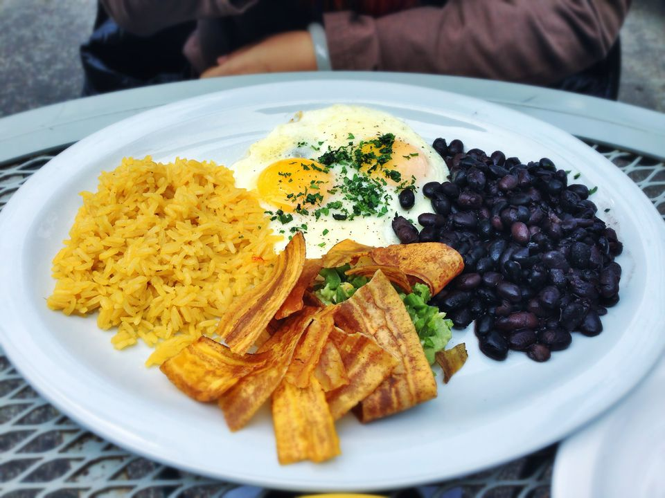 Yellow rice and black beans