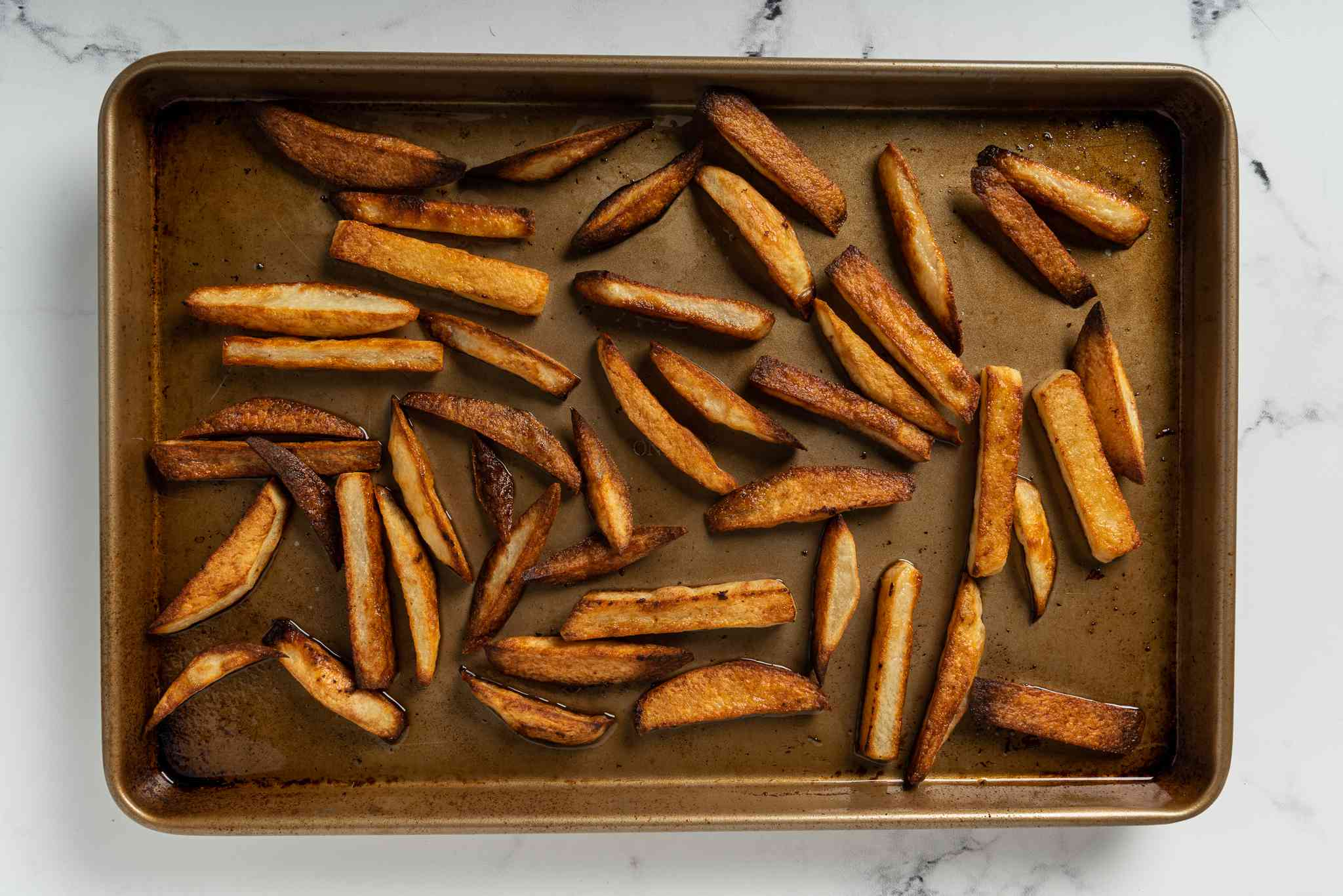 Baked French Fries on a baking sheet