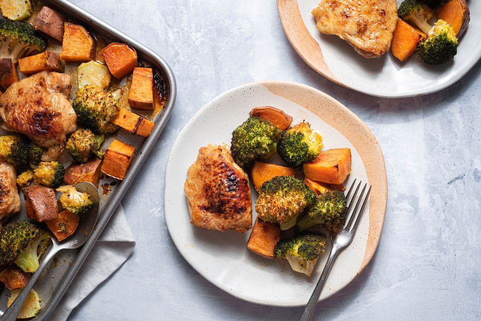 Roasted Sheet Pan Chicken, Sweet Potatoes, and Broccoli