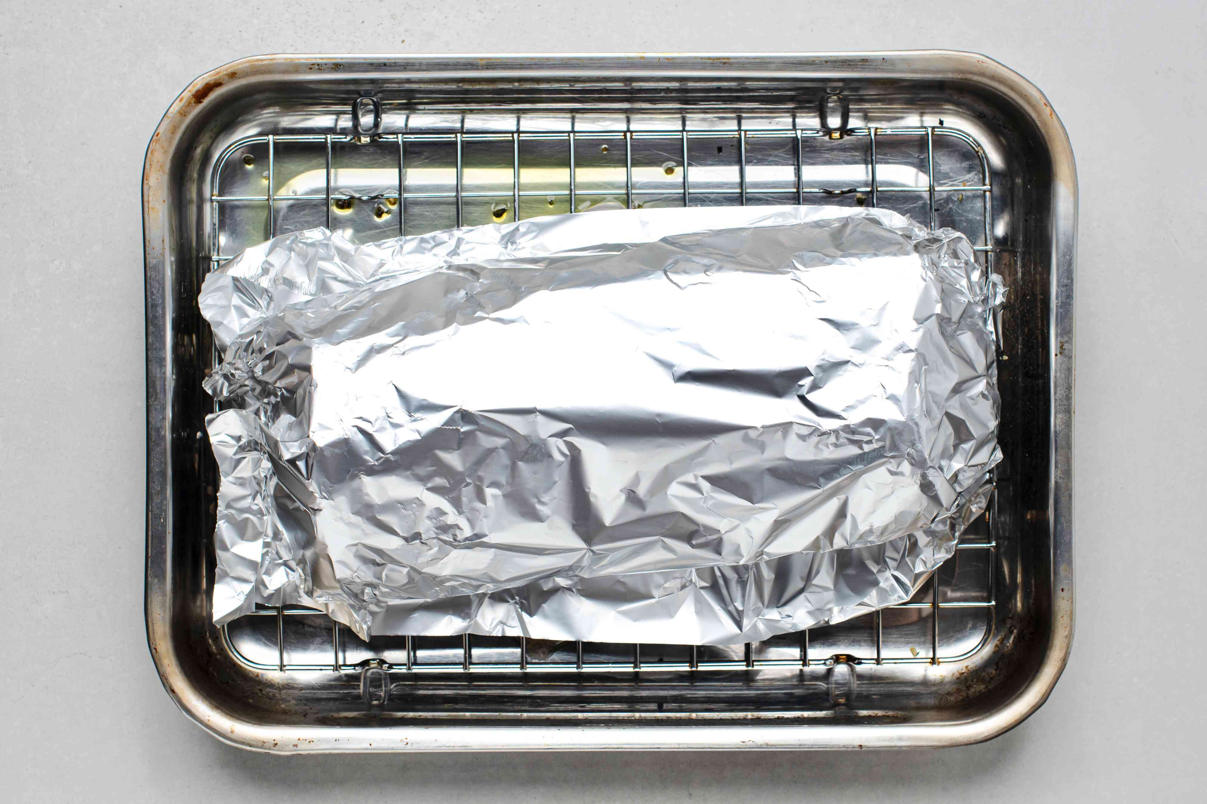 Roasted Boneless Pork Loin, wrapped with aluminum foil