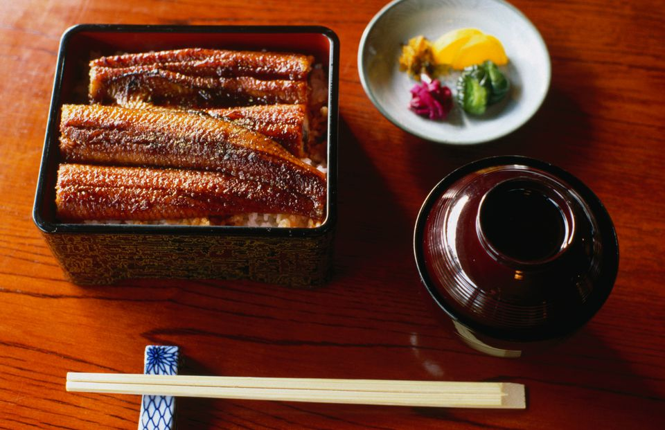 A spread of unagi, fried eel