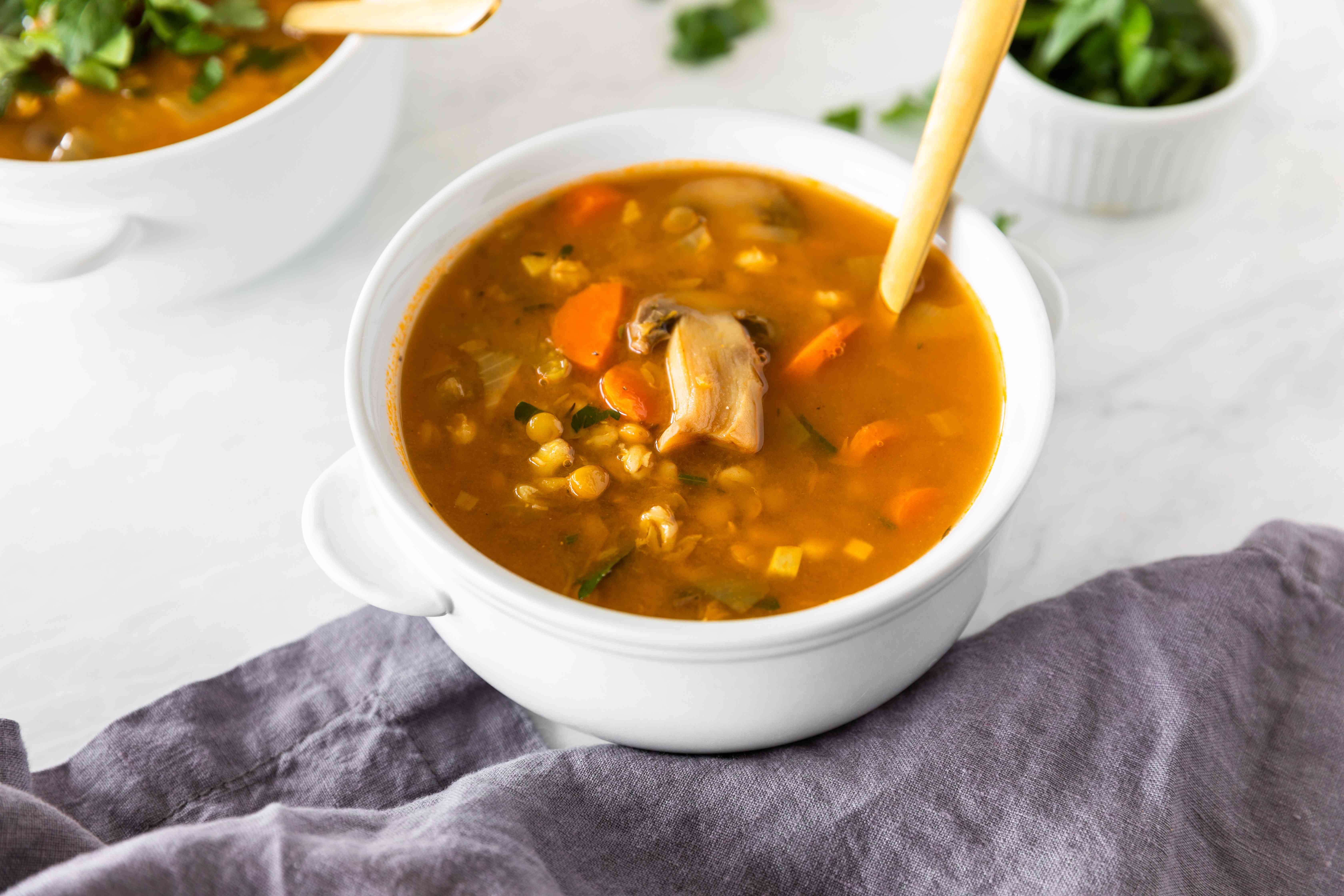 Barley vegetable soup with lentils recipe