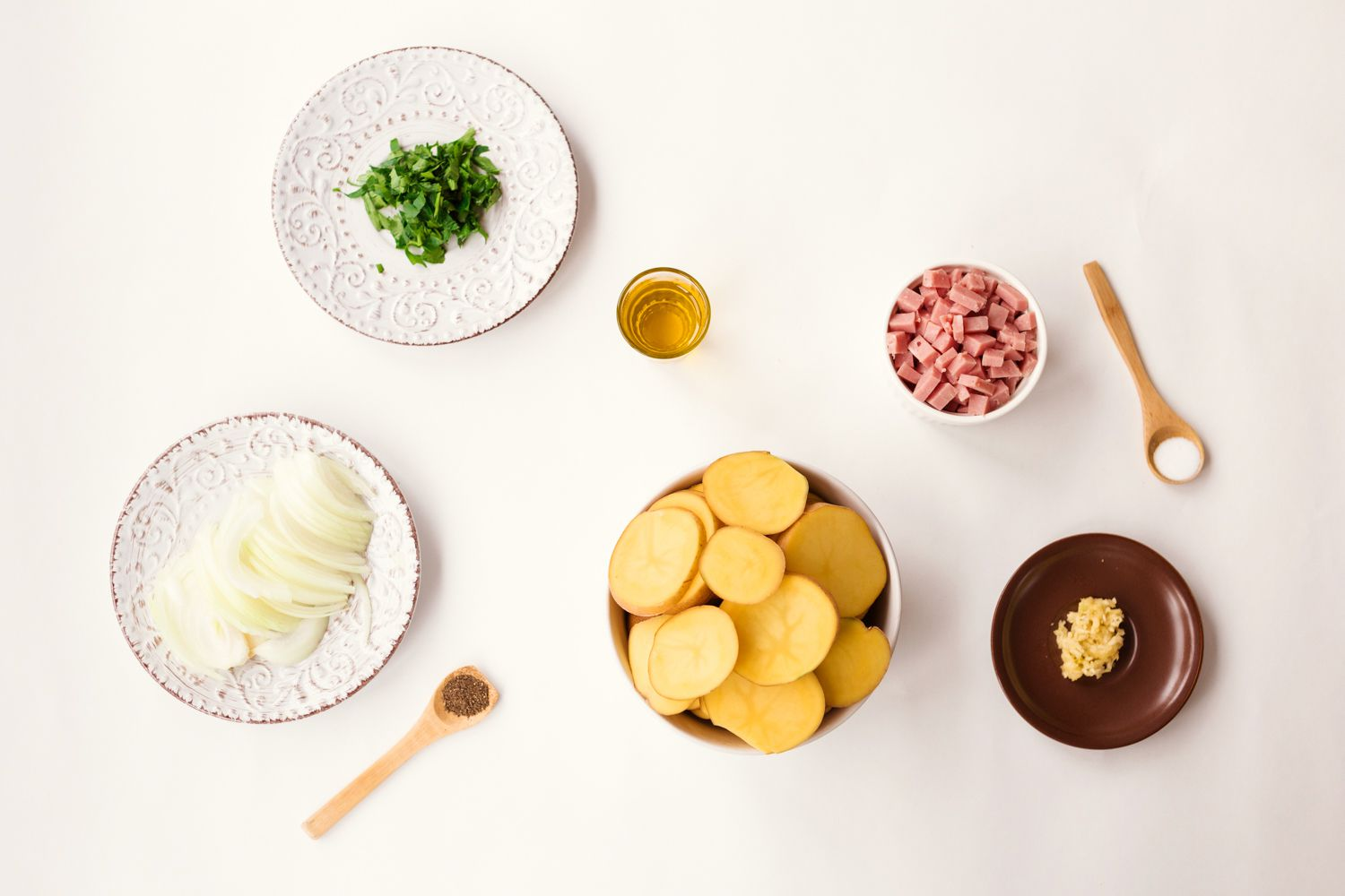 Ingredients for roasted potatoes with ham