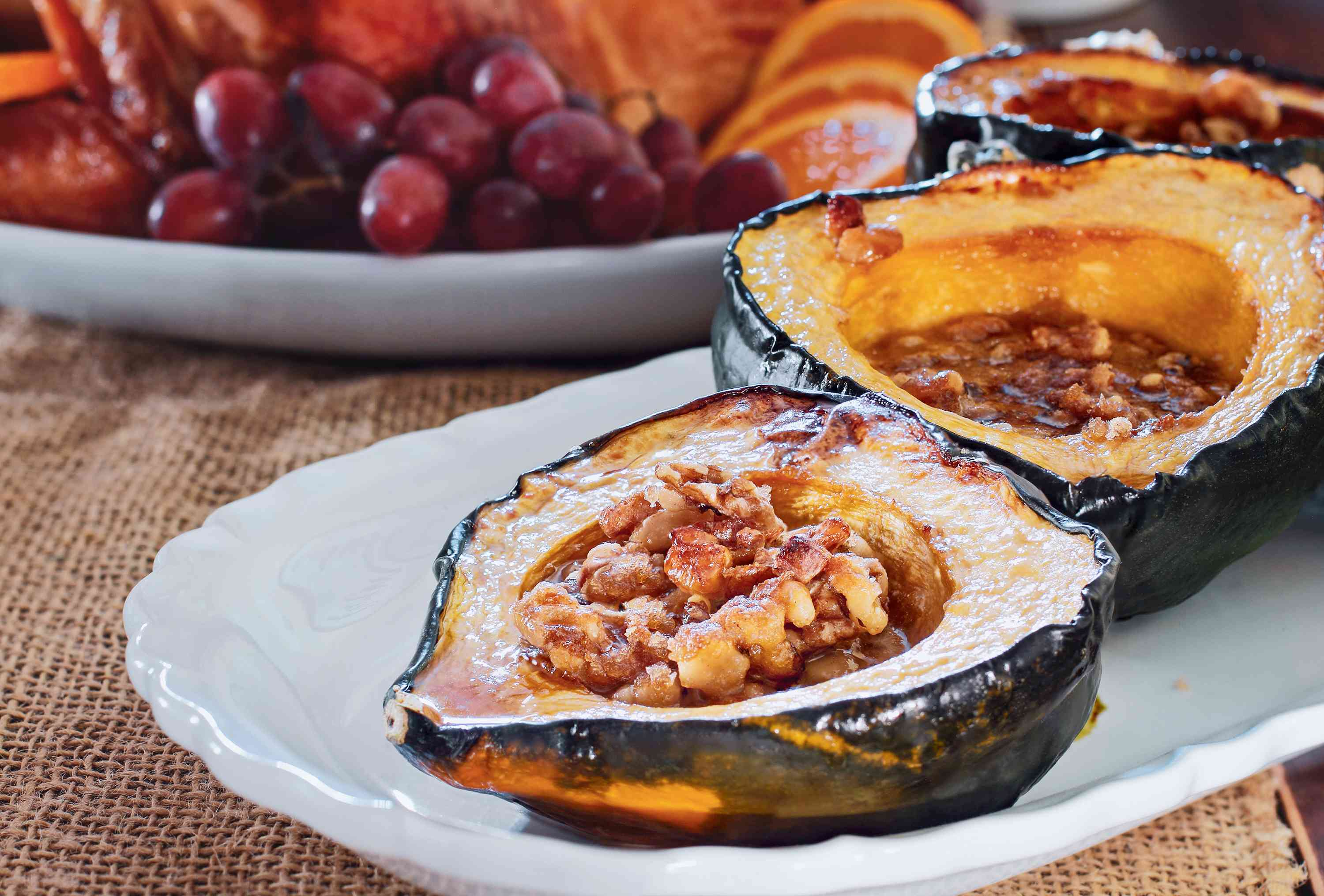 Sweet Grilled Acorn Squash With Walnuts