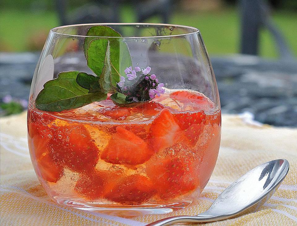 Pimms Jelly in an outdoor glass