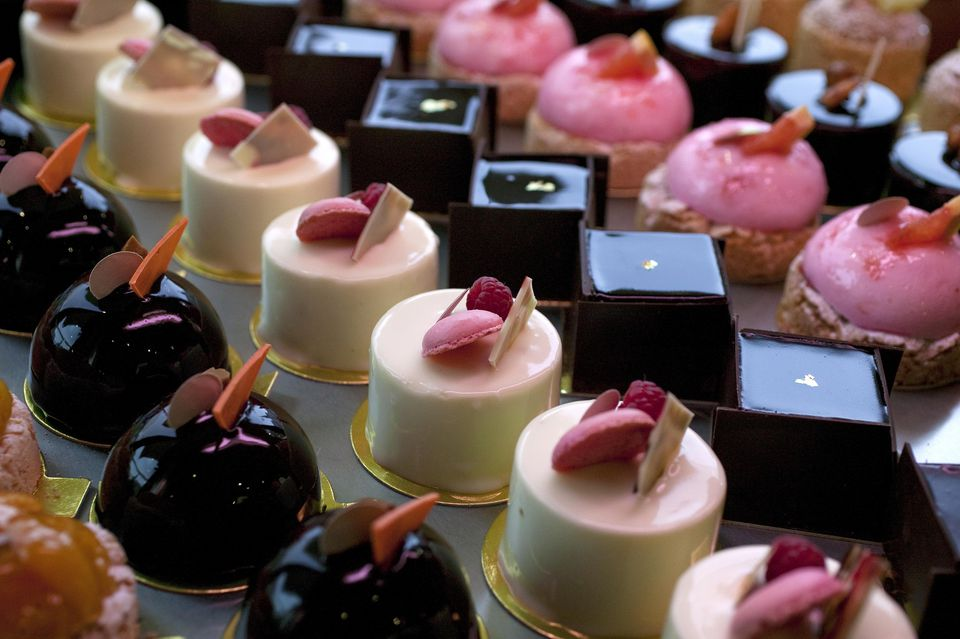 Petit fours - tiny french pastries in a Paris bakery