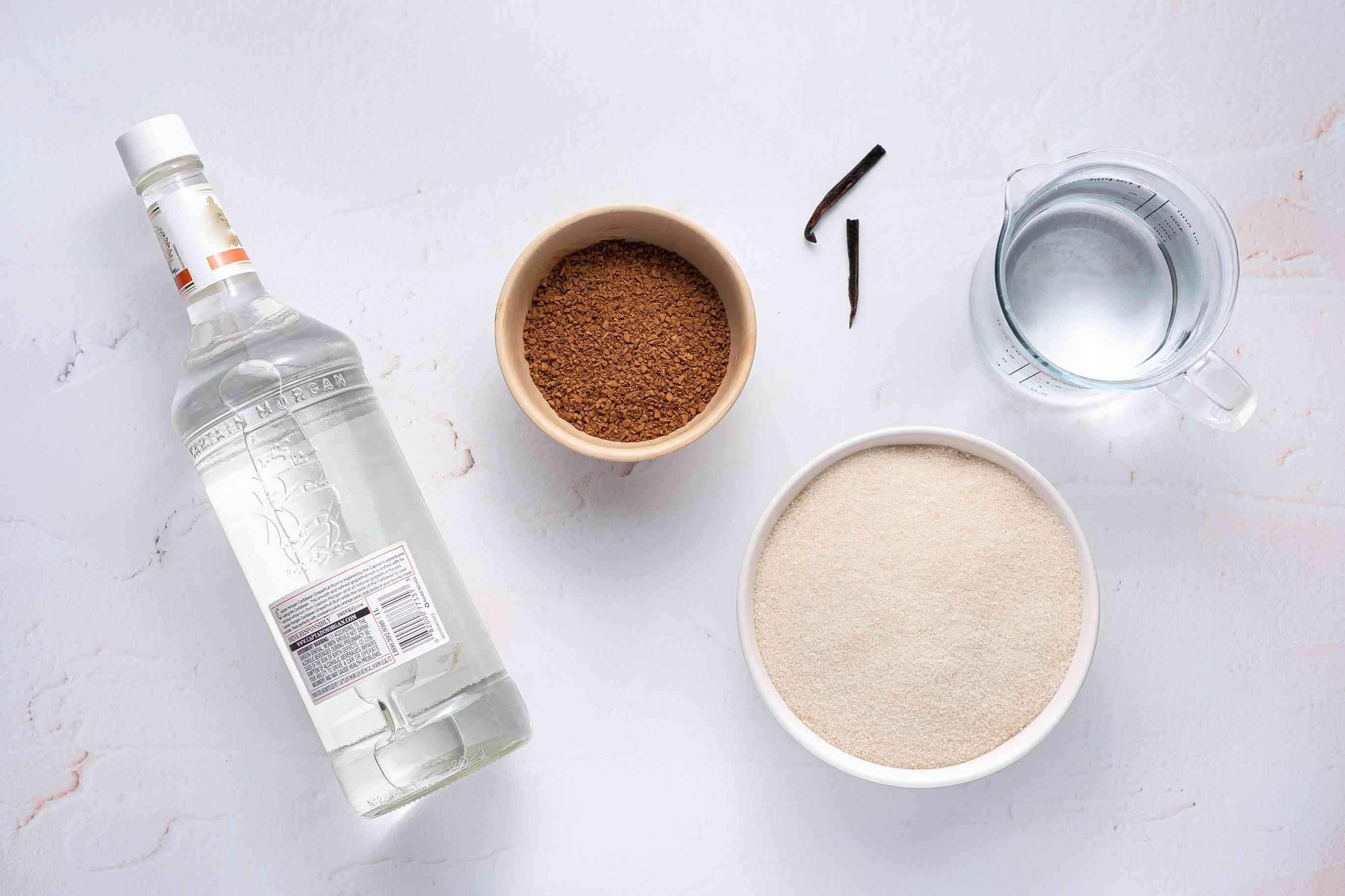 Homemade Coffee Liqueur ingredients