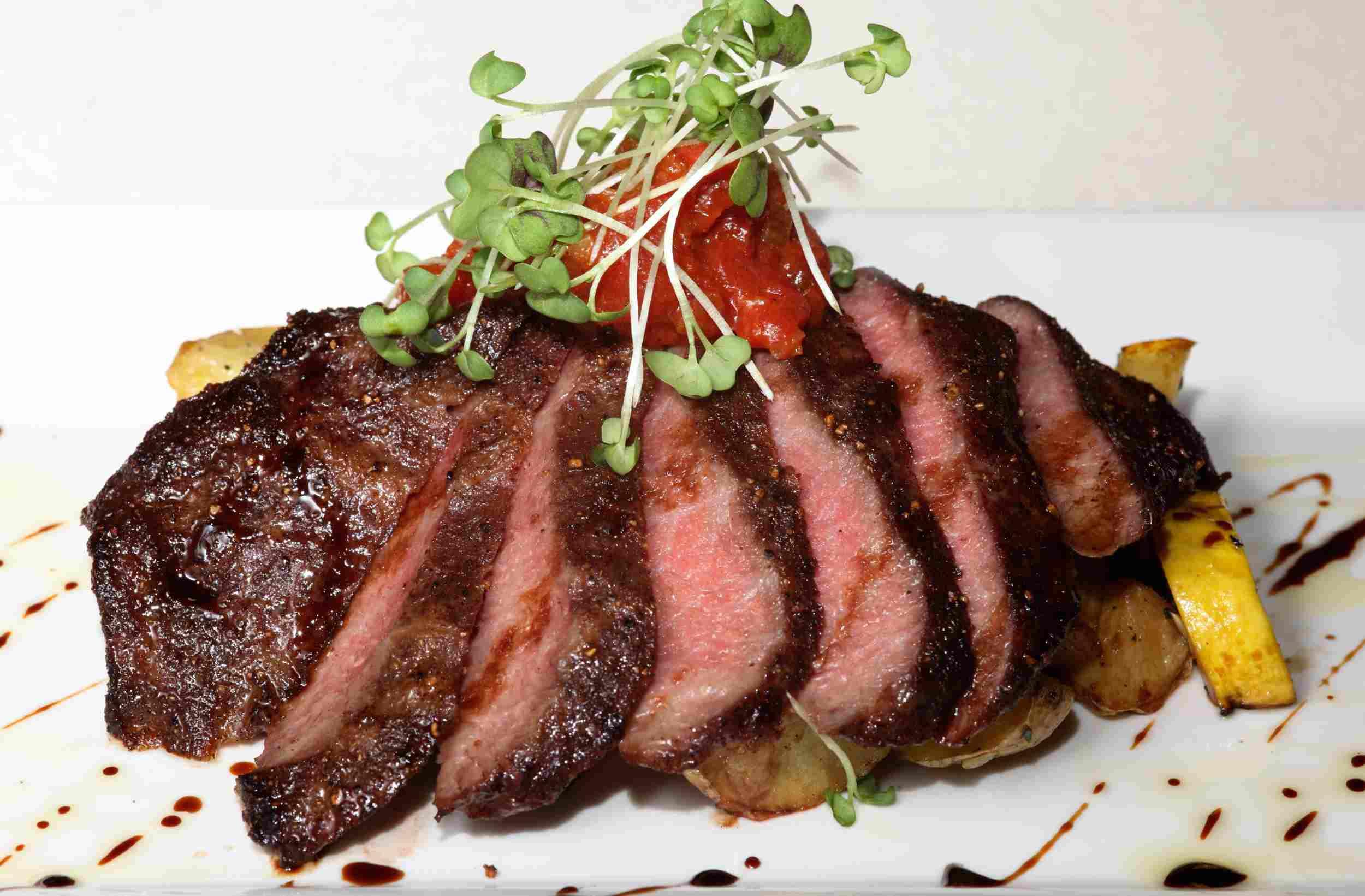 Steak with garnishes.