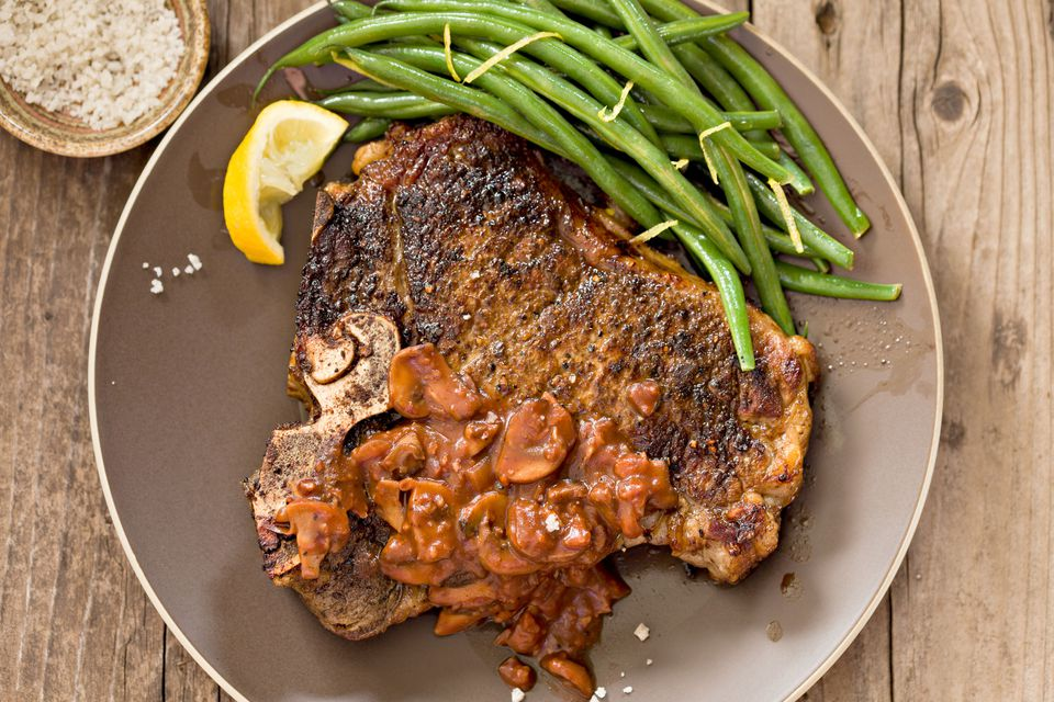 T-Bone Grilled Steak with Mushrooms