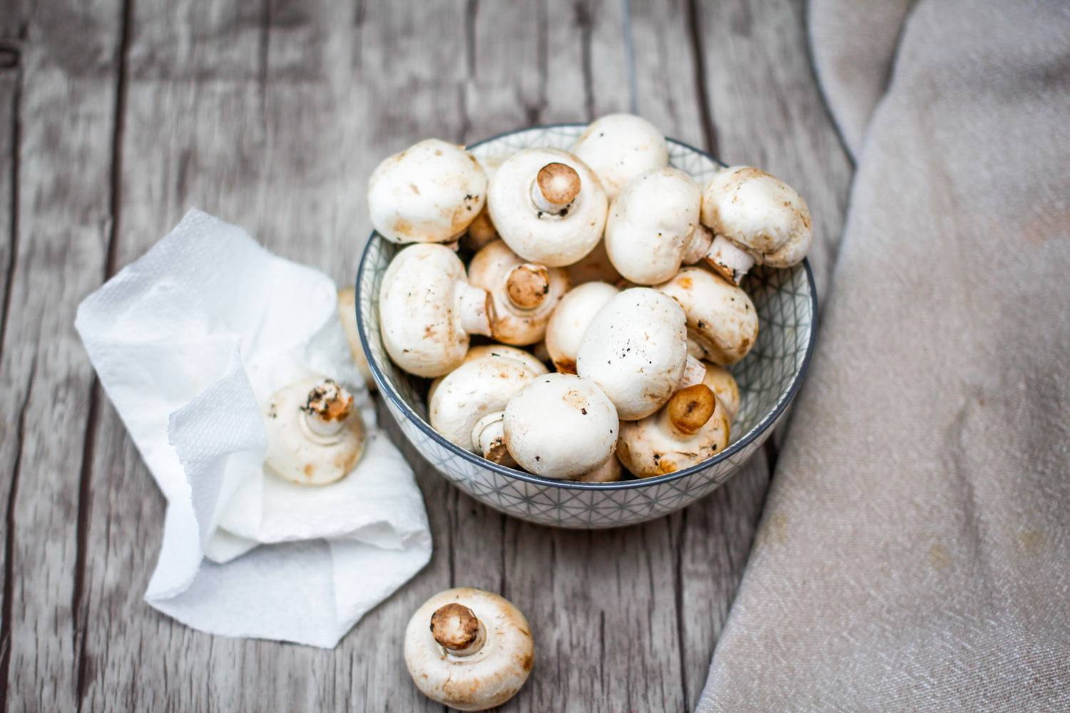 clean and dry mushrooms