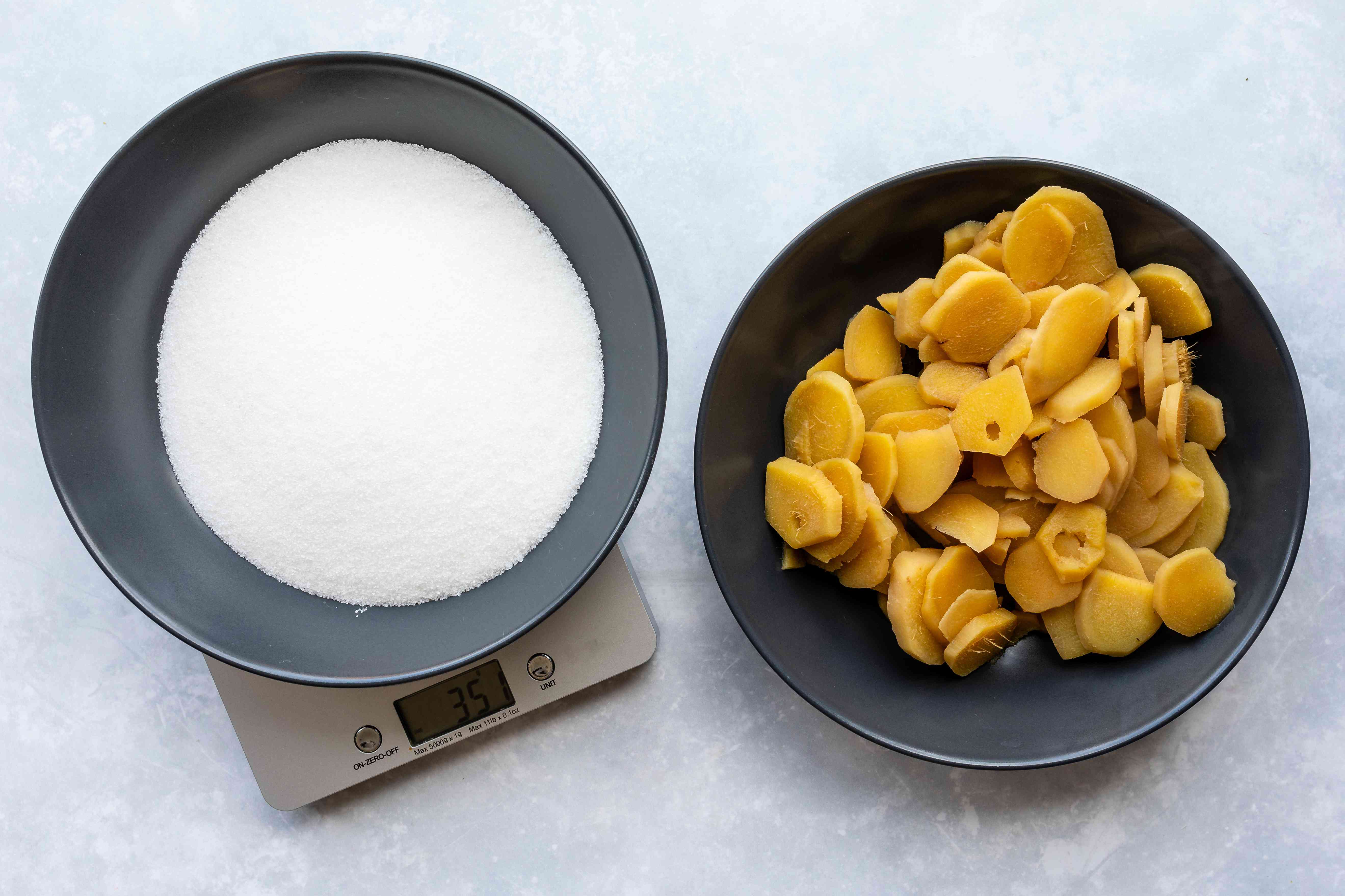 Weigh cooked ginger