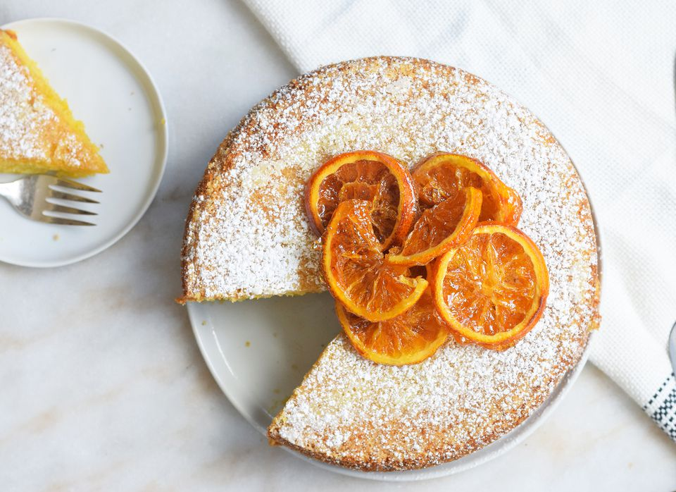 olive oil cake topped with candied oranges