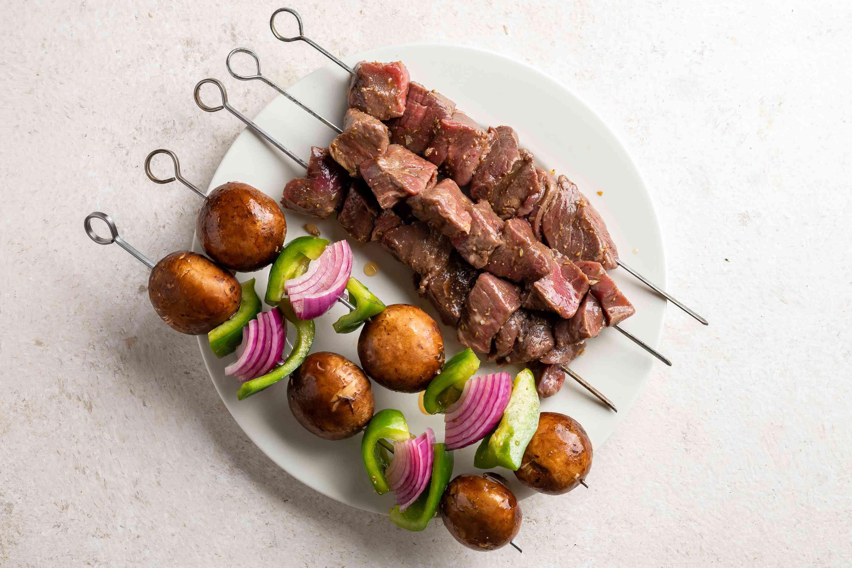 beef and vegetables on skewers
