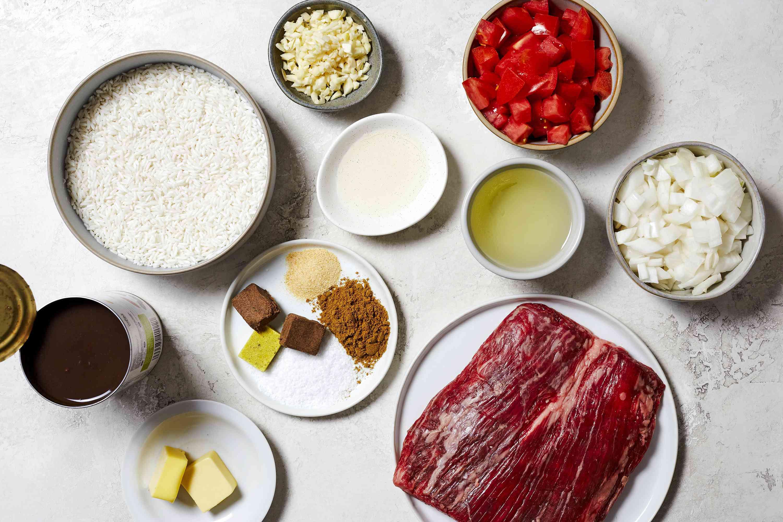 Ingredients to make Pabellon Criollo