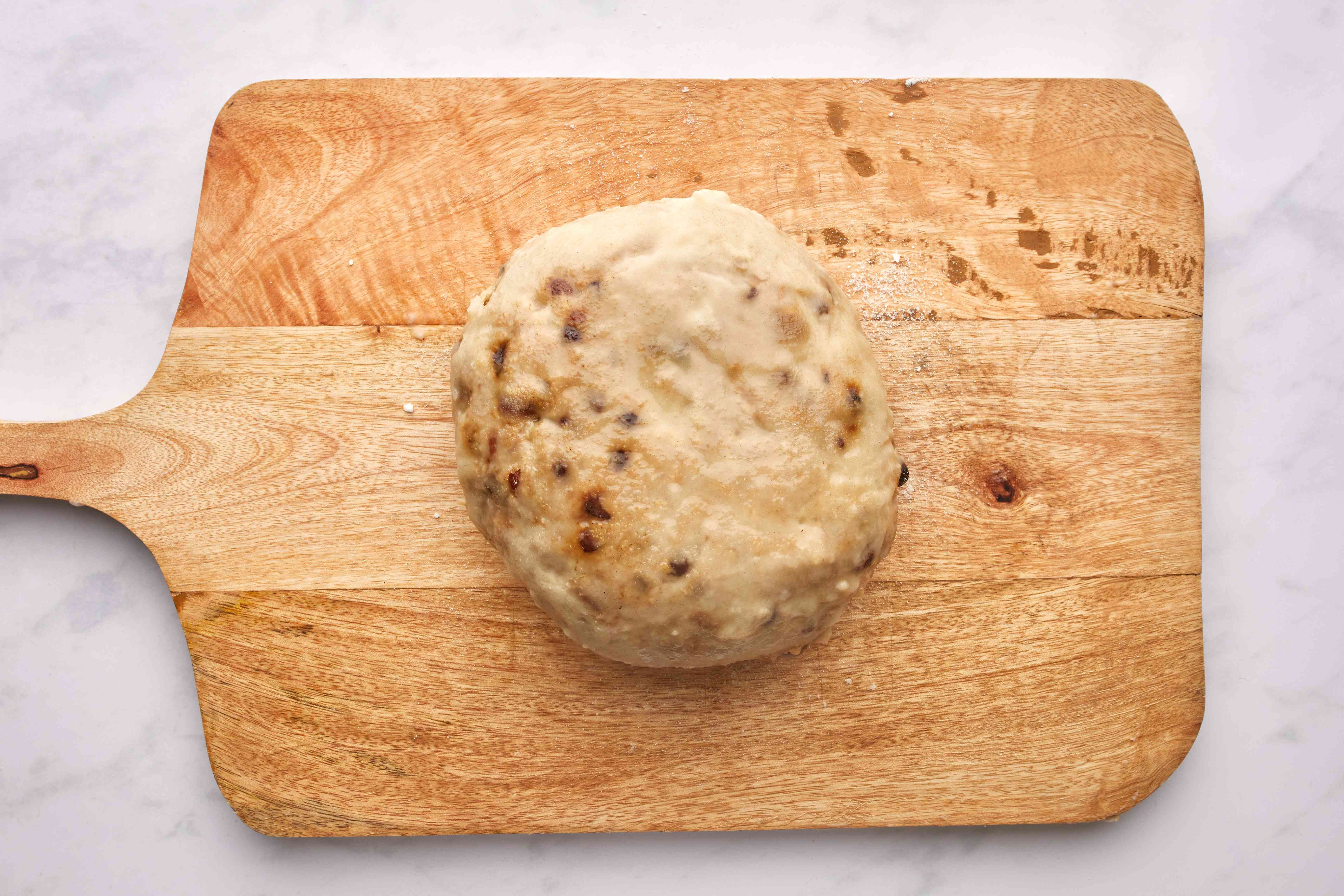 Clootie dumpling with caster sugar sprinkled on top