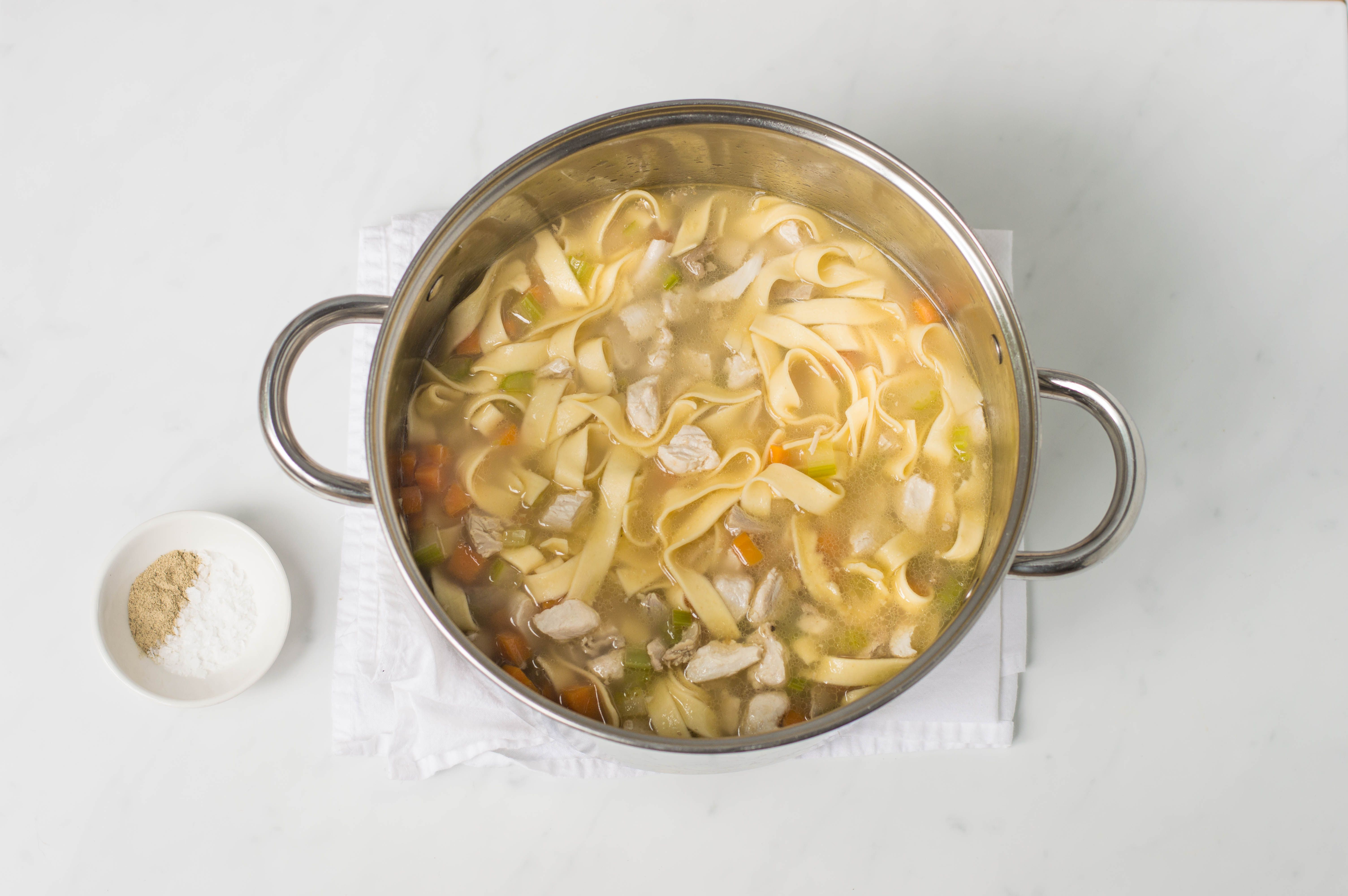 add turkey, white pepper and kosher salt