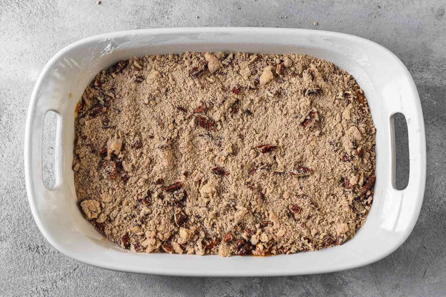 Pumpkin Bars With Streusel Topping in a baking pan