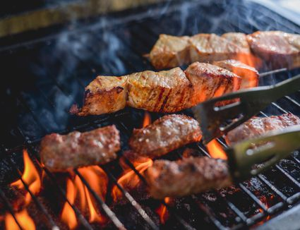 Chicken and beef on the grill