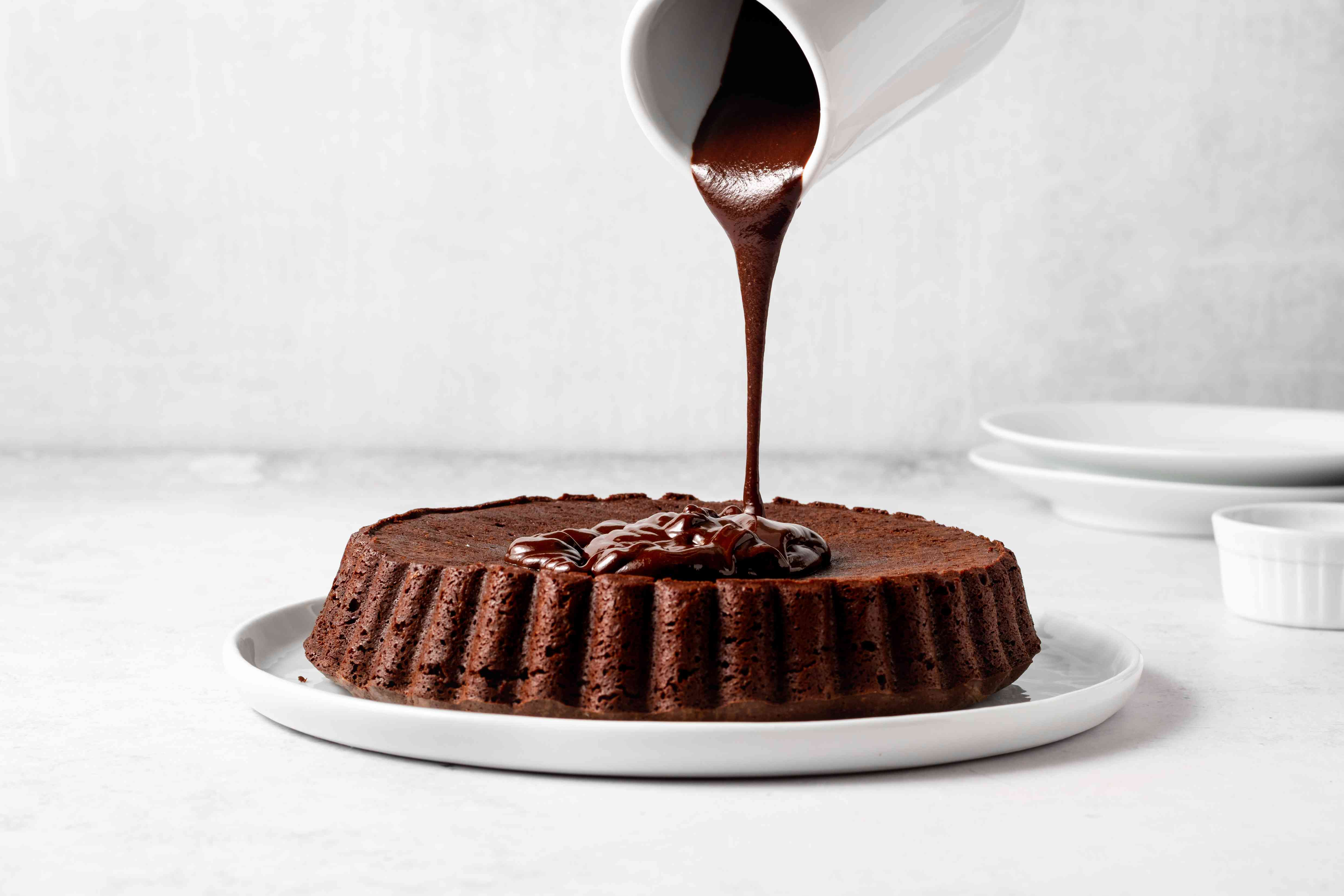 Pour all of the glaze in the middle of the cake