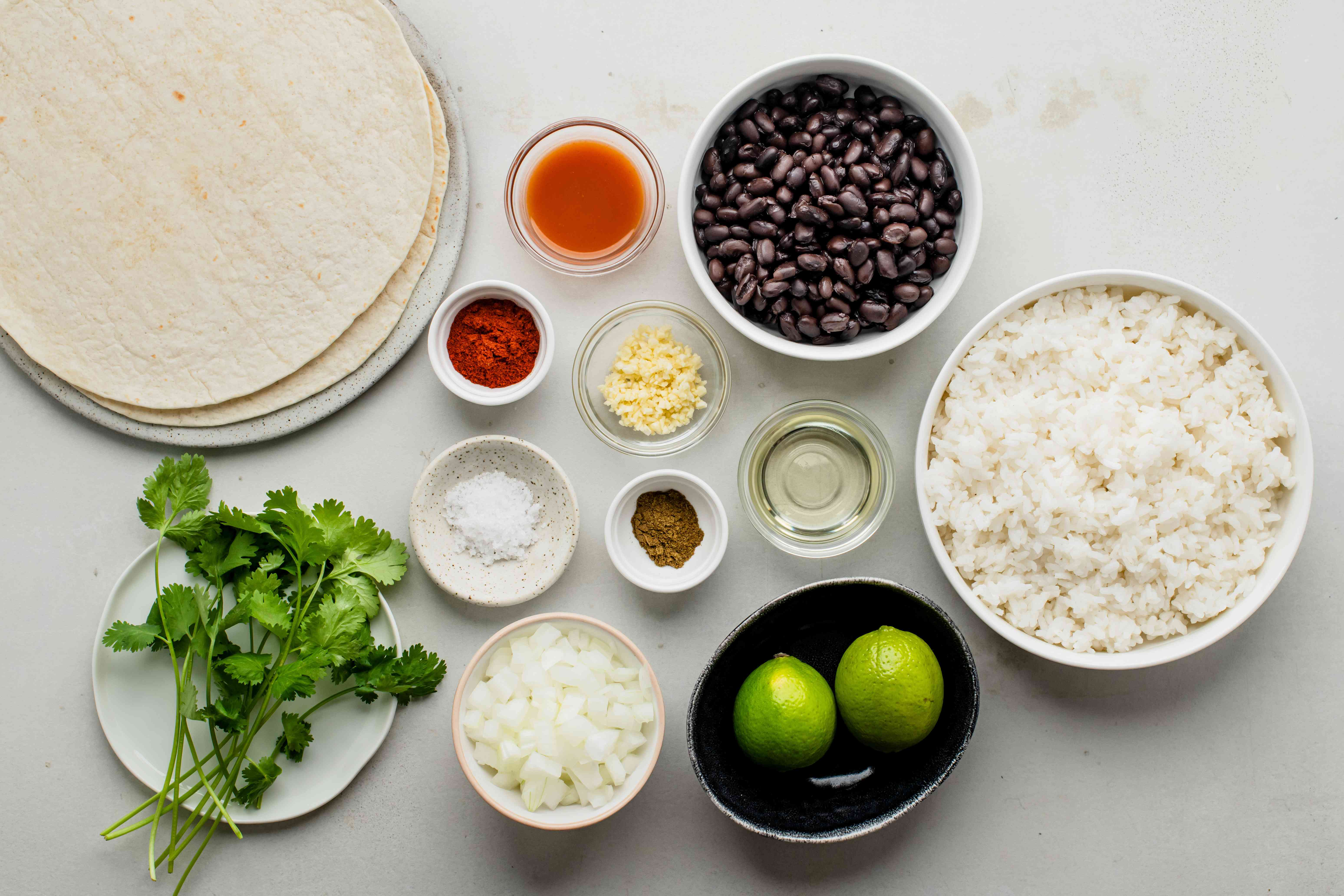 Ingredients for rice and bean burritos