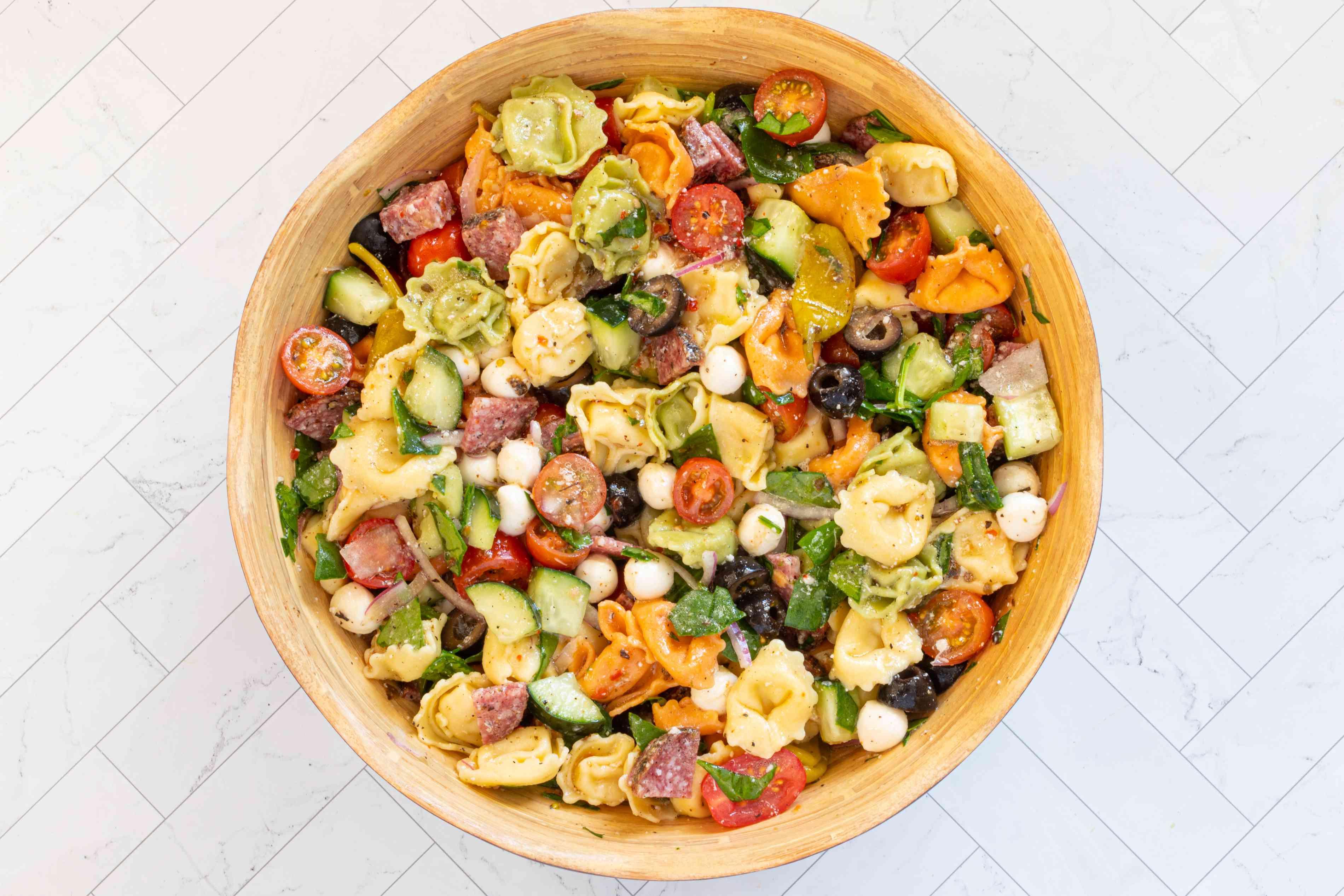 tortellini pasta salad in a serving bowl