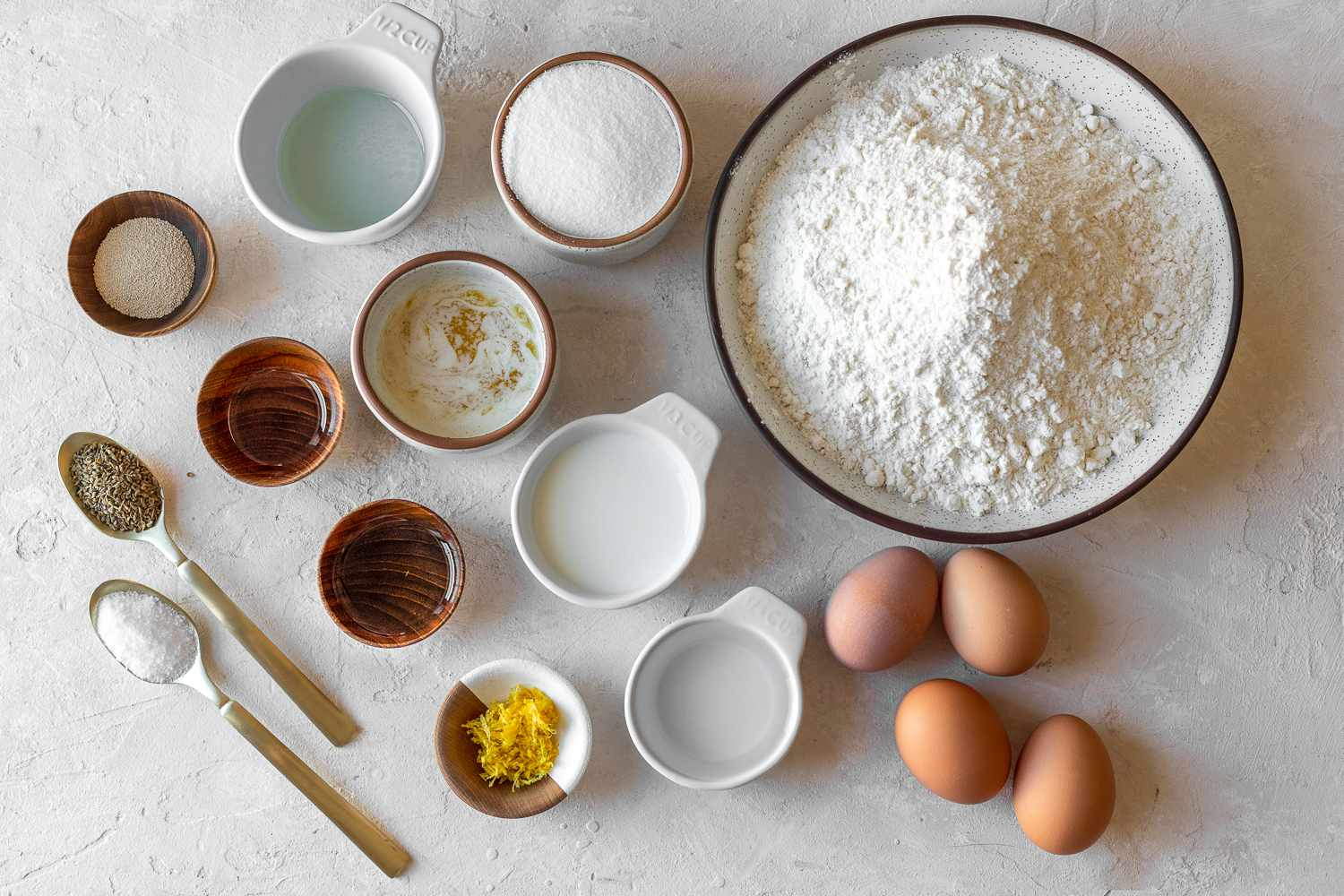 Traditional Italian Easter Bread ingredients