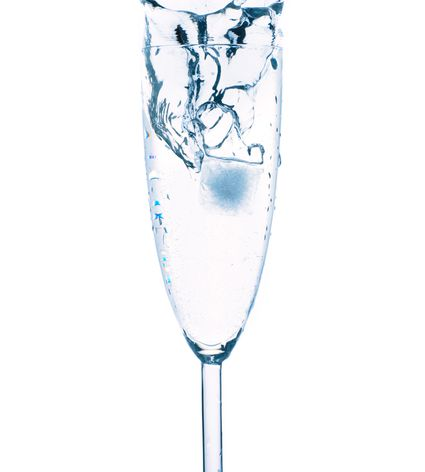 Champagne Glass with Ice Splash