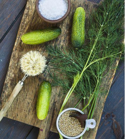 Gherkins, dill, salt and mustard grains