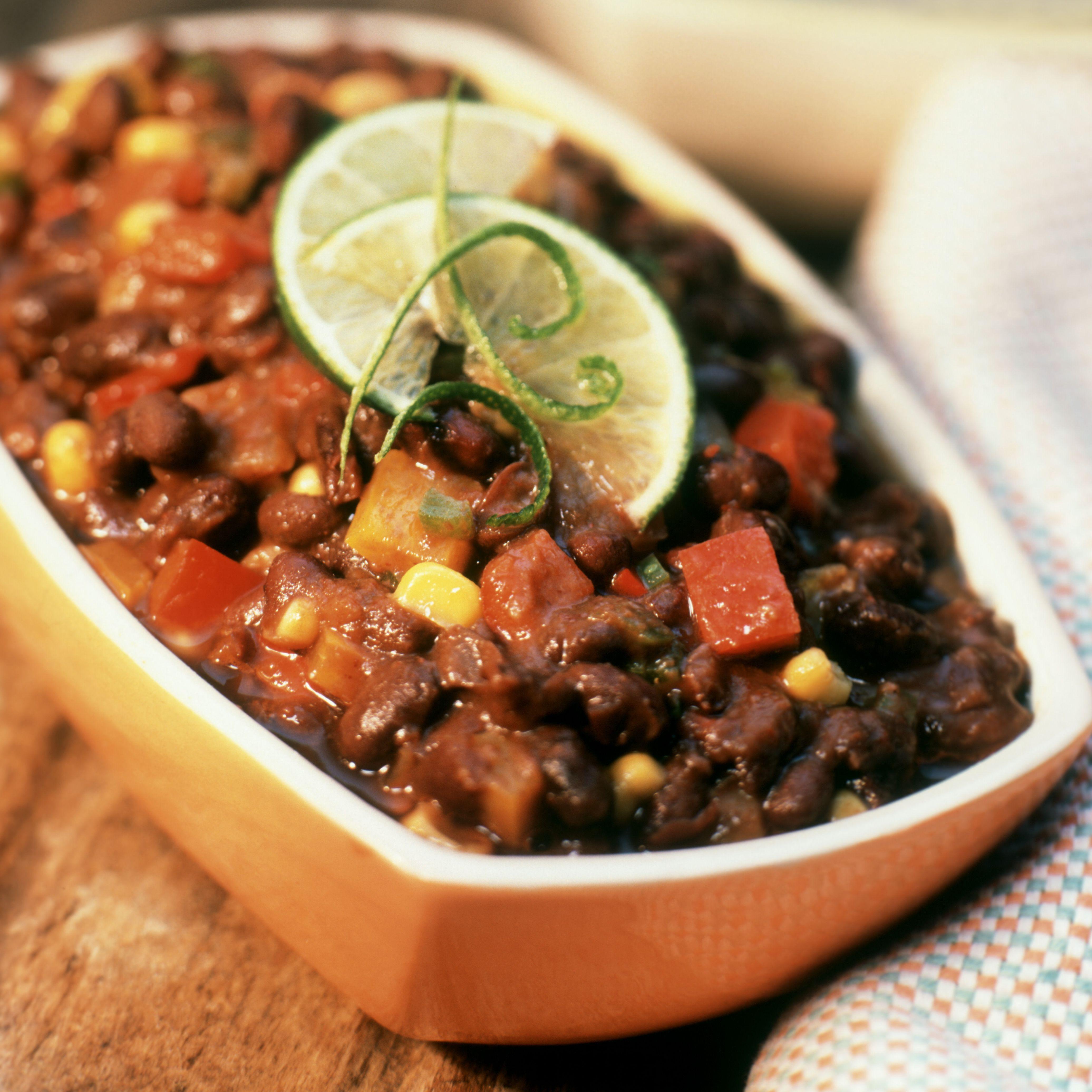 Dish of black bean chili
