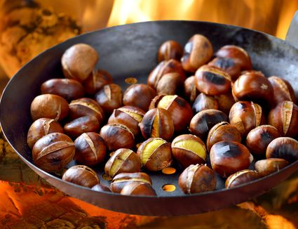 Close up of roasting chesnuts on an open fire