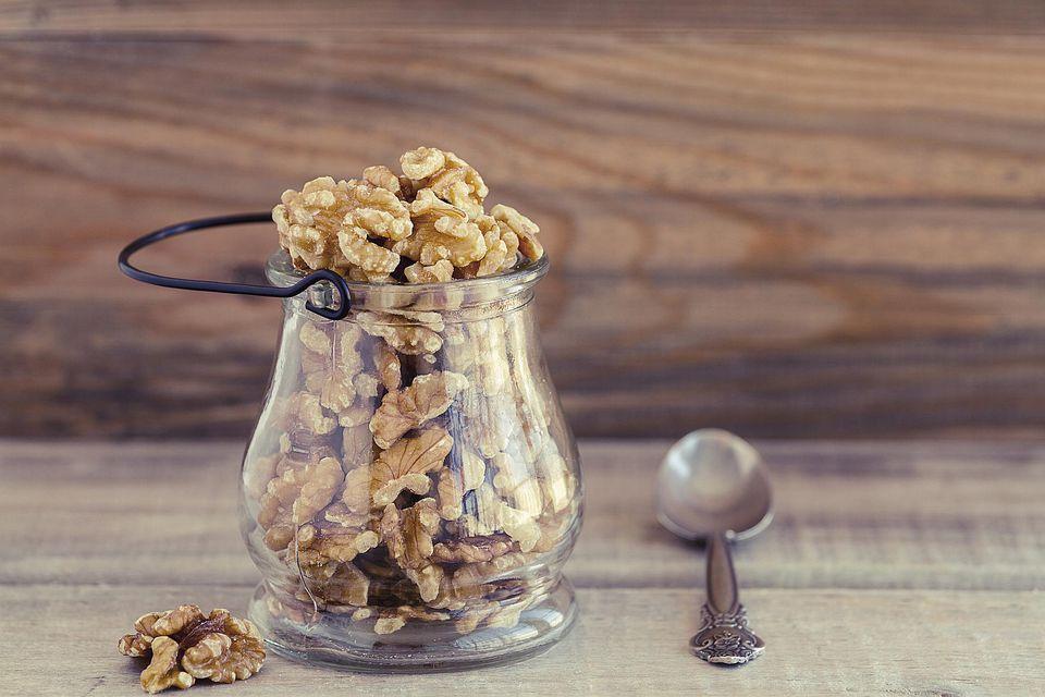 Walnuts in a glass jar