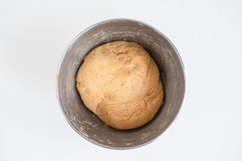 Pumpernickel Bread dough in a bowl
