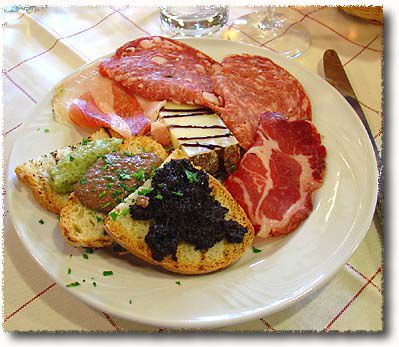 An Antipasto Misto Toscano with Cold Cuts, Crostini & Pecorino Toscano Cheese