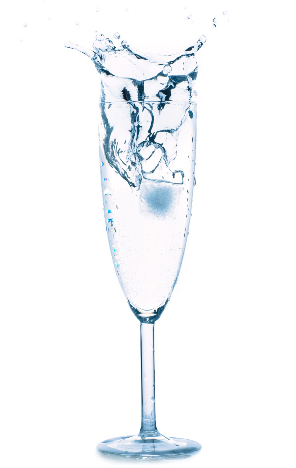 Champagne Glass with Ice Splash