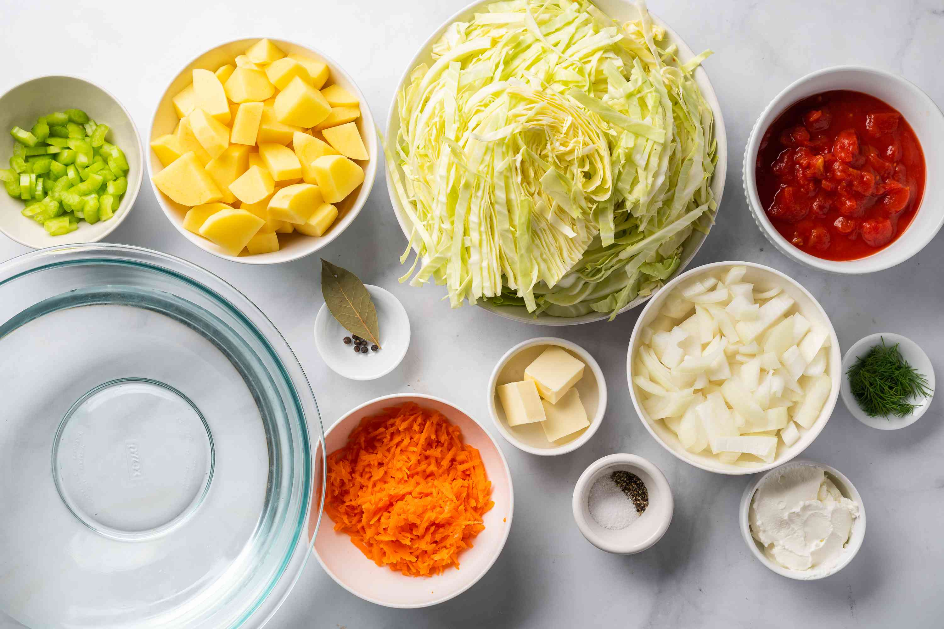 Traditional Russian Cabbage Soup (Shchi) ingredients